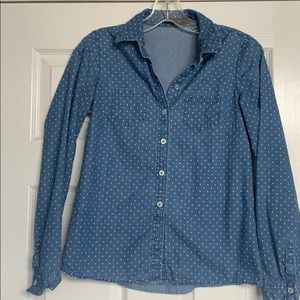 Polka Dot Denim Button Down